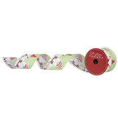 """Merry Christmas Gnomes Wired Edge Ribbon - 2 1/2"""""""