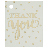 White & Gold Polka Dot Thank You Favor Tags
