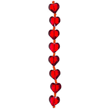 Red Gemcut Heart Glass Bead Strand