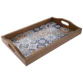 Blue & Orange Tile Pattern Wood Tray