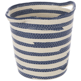 Beige & Blue Striped Basket