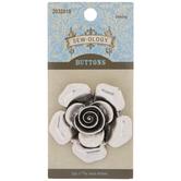 Silver Flower Shank Button - 47mm