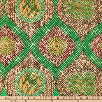 Green Metallic Ankara Apparel Fabric