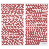 Red Foil Script Alphabet Stickers