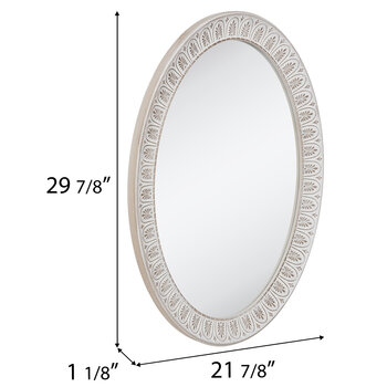 Whitewash Carved Oval Wood Wall Mirror, Whitewash Oval Wood Wall Mirror