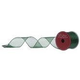 """Metallic Green Wired Edge Ribbon - 2 1/2"""""""