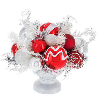 Red & Silver Ball Ornaments In Pedestal Pot