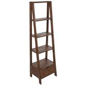 Four-Tiered Wood Shelf & Drawer
