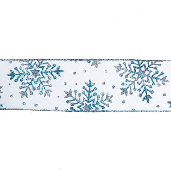 "Blue & Silver Glitter Snowflake Wired Edge Sheer Ribbon - 2 1/2"""