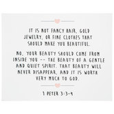 1 Peter 3:3-4 Beauty Wood Wall Decor