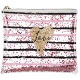 Love Glitter Heart & Striped Pouch