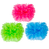 Blue, Pink & Lime Tissue Pom Poms
