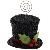 Black Stove Top Hat Place Card Holder
