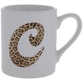 Leopard Print Letter Mug - C