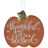 Thankful & Blessed Pumpkin Wood Wall Decor