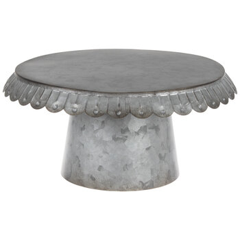 Scalloped Galvanized Metal Cake Stand
