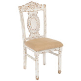 Rustic White Ornate Carved Chair