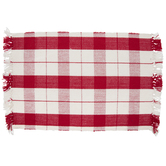 Red & White Buffalo Check Fringe Placemat