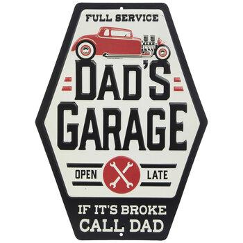 weathered version 360mm diameter Dad/'s Garage round metal sign pst