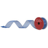 """Silver Dots On Blue Wired Edge Sheer Ribbon - 1 1/2"""""""