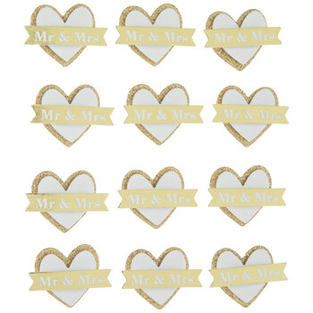 Mr & Mrs Heart 3D Stickers