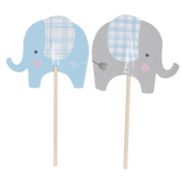 Blue & Gray Elephant Cupcake Toppers