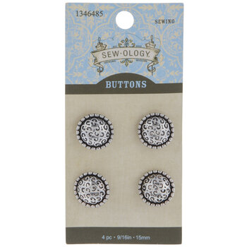 Silver Scroll Dome Shank Buttons - 15mm