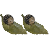 Hedgehogs On Leaves