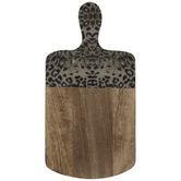 Gray Leopard Print Wood Cutting Board