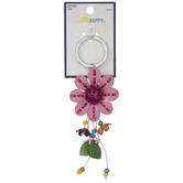 Pink Imitation Leather Flower Keychain