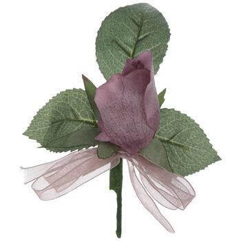Mauve True Touch Rose Boutonniere