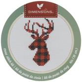 Red Plaid Deer Counted Cross Stitch Kit