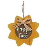 Happy Fall Wood Sunflower Ornament