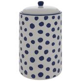 White & Blue Polka Dot Canister