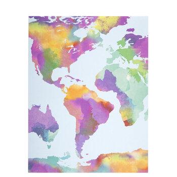 "Bright Watercolor Map Scrapbook Paper - 8 1/2"" x 11"""