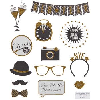 Gold Glitter New Year Stickers