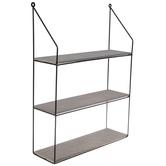 Gray & Black Three-Tiered Metal Wall Shelf
