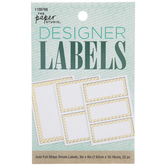 Gold Foil Striped Border Rectangle Designer Labels