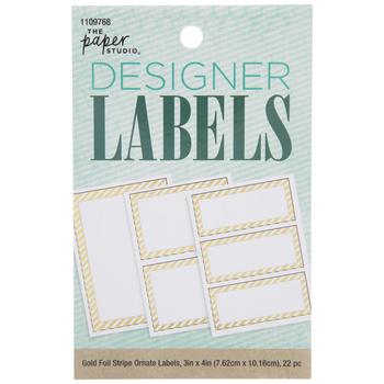 Gold Foil Striped Border Rectangle Designer Labels