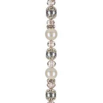 Gray Glass Pearl, Crystal & Rhinestone Bead Strand