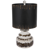 Distressed Brown & White Round Lamp