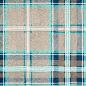 Blue & Gray Plaid Velvet Fleece Fabric