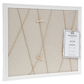 White Beaded Memo Board With Clips