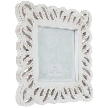 "White Scalloped Wood Frame - 6"" x 6"""