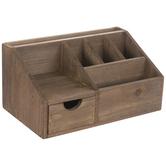 Dark Brown Wood Desk Organizer