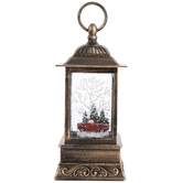 Red Truck Light Up Lantern Snow Globe