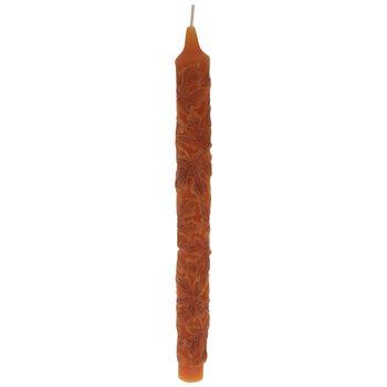 Orange Embossed Leaf Taper Candles