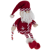 Red & White Plush Santa Shelf Sitter