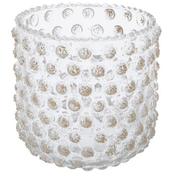 Gold Textured Hobnail Glass Candle Holder