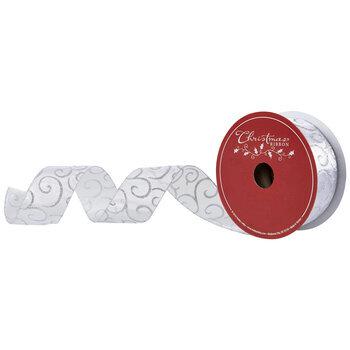 "Silver Glitter Scroll Wired Edge Sheer Ribbon - 2 1/2"""